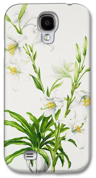 Spring Bulbs Paintings Galaxy S4 Cases - Madonna Lily Galaxy S4 Case by Sally Crosthwaite