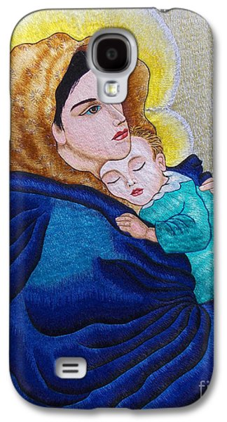 Jesus Tapestries - Textiles Galaxy S4 Cases - Madonna of the Street Hand Embroidery Galaxy S4 Case by To-Tam Gerwe