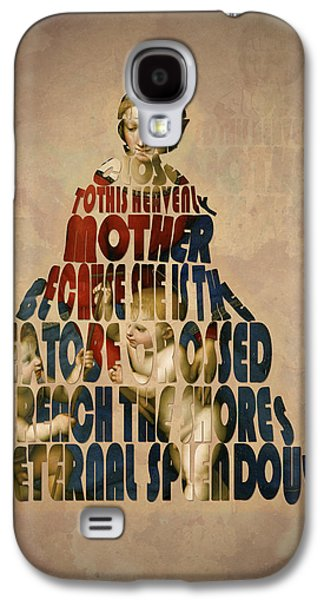 Mother Mary Digital Art Galaxy S4 Cases - Madonna Typography Artwork Galaxy S4 Case by Georgeta Blanaru