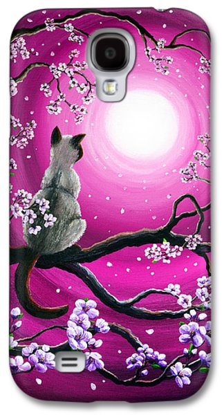 Cherry Blossoms Paintings Galaxy S4 Cases - Magenta Morning Sakura Galaxy S4 Case by Laura Iverson