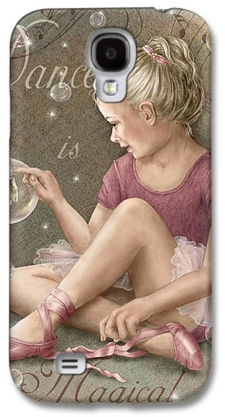 Little Girls Mixed Media Galaxy S4 Cases - Magic Ballerina Galaxy S4 Case by Beverly Levi-Parker