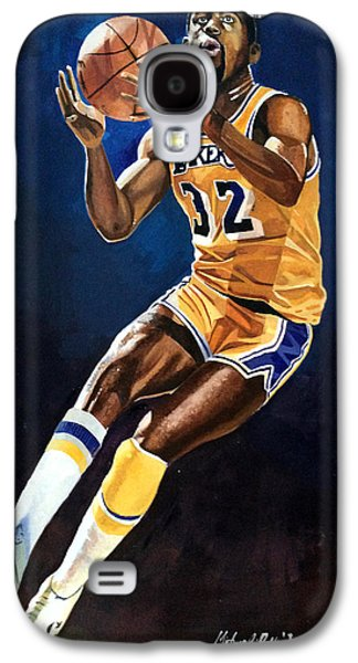 Larry Bird Galaxy S4 Cases - Magic Johnson - Lakers Galaxy S4 Case by Michael  Pattison