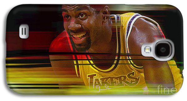 Basketball Galaxy S4 Cases - Magic Johnson Galaxy S4 Case by Marvin Blaine