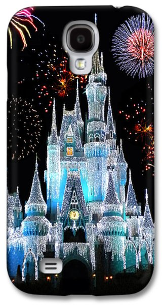 Christmas Galaxy S4 Cases - Magic Kingdom Castle In Frosty Light Blue with Fireworks 06 Galaxy S4 Case by Thomas Woolworth