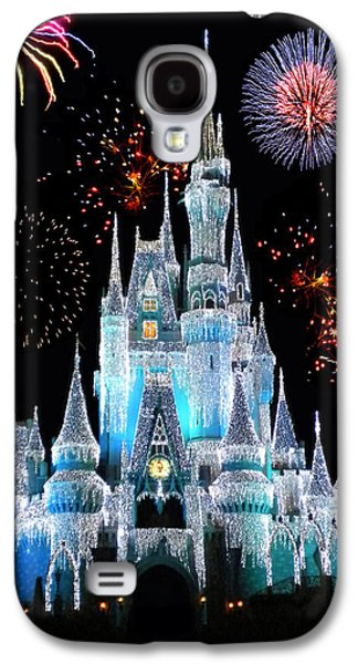 Magician Photographs Galaxy S4 Cases - Magic Kingdom Castle In Frosty Light Blue with Fireworks 06 Galaxy S4 Case by Thomas Woolworth