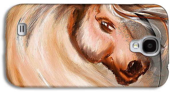 Kentucky Derby Galaxy S4 Cases - Magnificence- Colorful Horse- White And Brown Paintings Galaxy S4 Case by Lourry Legarde