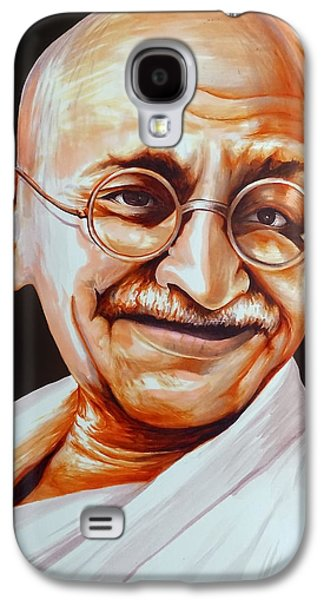 Discrimination Drawings Galaxy S4 Cases - Mahatma Gandhi Galaxy S4 Case by Arun Sivaprasad