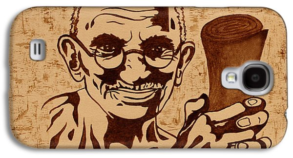 Independence Day Paintings Galaxy S4 Cases - Mahatma Gandhi Quote  Galaxy S4 Case by Georgeta Blanaru