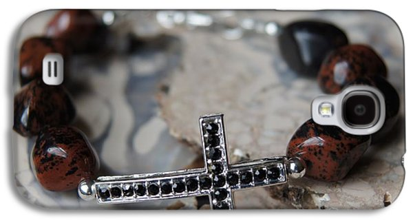 Religion Jewelry Galaxy S4 Cases - Mahogany Obsidian Cross Bracelet Galaxy S4 Case by Megan Cohen