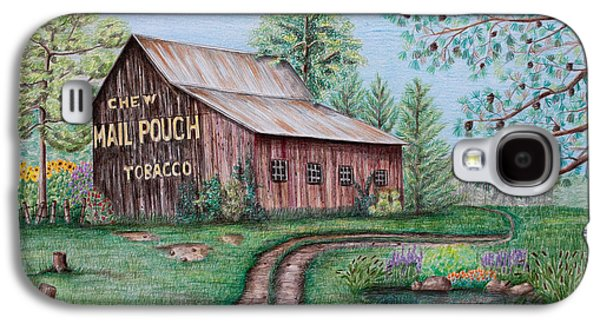 Fence Drawings Galaxy S4 Cases - Mail Pouch Tobacco Barn Galaxy S4 Case by Lena Auxier
