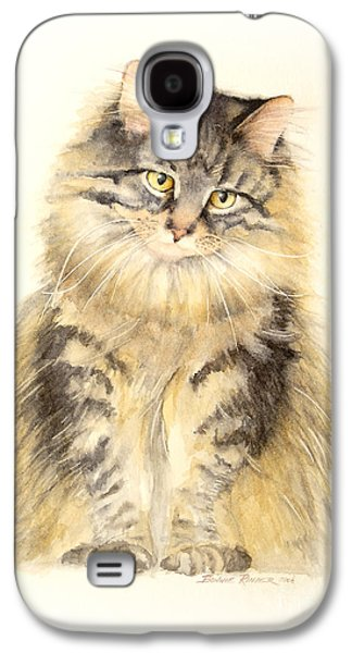 Maine Paintings Galaxy S4 Cases - Maine Coon Cat Galaxy S4 Case by Bonnie Rinier
