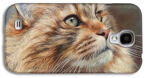 Maine Paintings Galaxy S4 Cases - Maine Coon Cat Galaxy S4 Case by David Stribbling