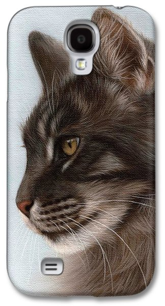 Maine Paintings Galaxy S4 Cases - Maine Coon Painting Galaxy S4 Case by Rachel Stribbling