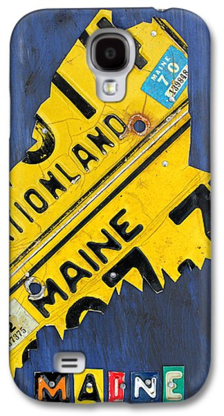 Maine Galaxy S4 Cases - Maine License Plate Map Vintage Vacationland Motto Galaxy S4 Case by Design Turnpike