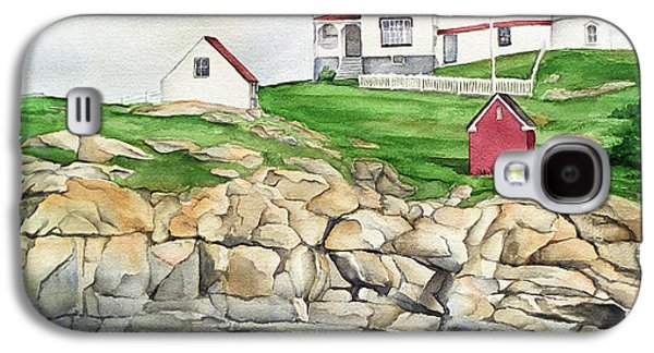 Nubble Lighthouse Paintings Galaxy S4 Cases - Maine Lighthouse Watercolor Galaxy S4 Case by Michelle Wiarda