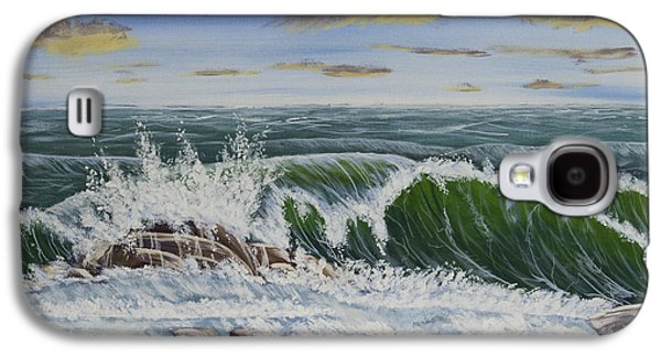 Storms Paintings Galaxy S4 Cases - Crashing Waves At Pemaquid Point Maine Galaxy S4 Case by Keith Webber Jr