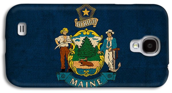 Maine Galaxy S4 Cases - Maine State Flag Art on Worn Canvas Galaxy S4 Case by Design Turnpike