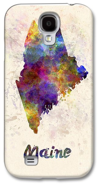 Maine Paintings Galaxy S4 Cases - Maine US state in watercolor Galaxy S4 Case by Pablo Romero