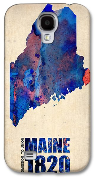 Maine Galaxy S4 Cases - Maine Watercolor Map Galaxy S4 Case by Naxart Studio
