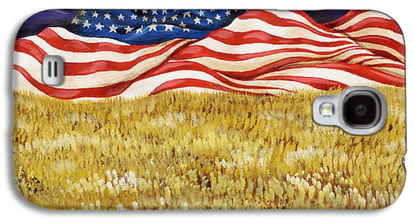 4th July Paintings Galaxy S4 Cases - Majestic Patriot Mountains Galaxy S4 Case by Donella OGorman