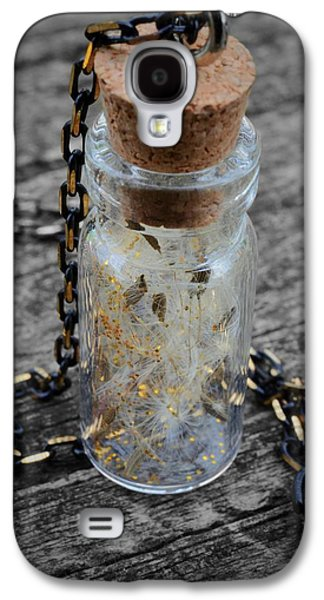 Flower Jewelry Galaxy S4 Cases - Make a Wish - Dandelion Seed in Glass Bottle with Gold Fairy Dust Necklace Galaxy S4 Case by Marianna Mills