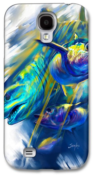 Shark Paintings Galaxy S4 Cases - Mako Shark and Tuna Fish Art Galaxy S4 Case by Mike Savlen