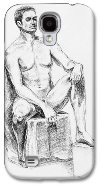 Abstract Forms Drawings Galaxy S4 Cases - Male Model Seated Charcoal Study Galaxy S4 Case by Irina Sztukowski