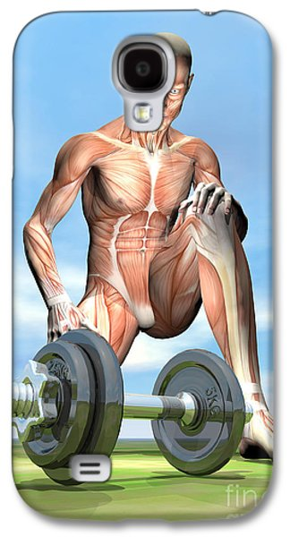 Concentration Digital Galaxy S4 Cases - Male Musculature Looking At A Dumbbell Galaxy S4 Case by Elena Duvernay