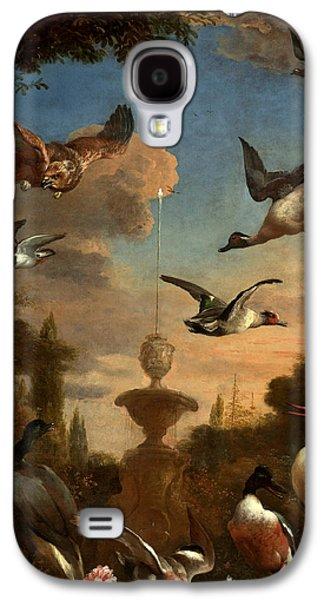 Mallard Golden Eagle Wild Fowl In Flight Galaxy S4 Case by Melchior de Hondecoeter
