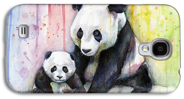 Girls Mixed Media Galaxy S4 Cases - Panda Watercolor Mom and Baby Galaxy S4 Case by Olga Shvartsur