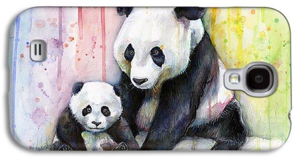 Girls Mixed Media Galaxy S4 Cases - Panda Watercolor Mom and Baby Galaxy S4 Case by Olga Shvartsur