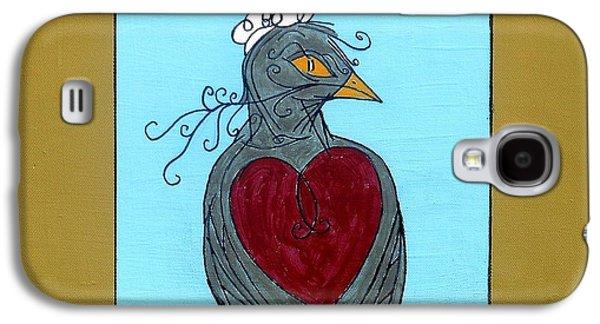 Yellow Beak Paintings Galaxy S4 Cases - Mama Bird Galaxy S4 Case by Genevieve Esson