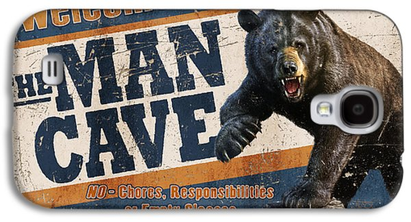 Man Cave Balck Bear Galaxy S4 Case by JQ Licensing