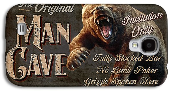 Scary Galaxy S4 Cases - Man Cave Grizzly Galaxy S4 Case by JQ Licensing