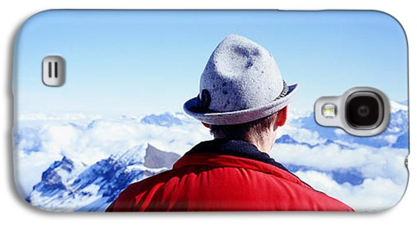 Man Looking Down Galaxy S4 Cases - Man Contemplating Swiss Alps Galaxy S4 Case by Panoramic Images