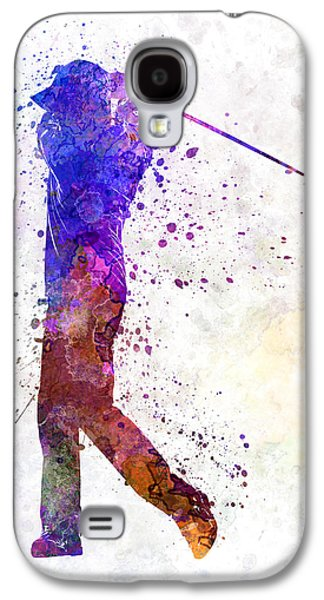 Cut Outs Galaxy S4 Cases - Man Golfer Swing Silhouette Galaxy S4 Case by Pablo Romero