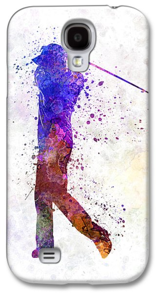 Cut-outs Galaxy S4 Cases - Man Golfer Swing Silhouette Galaxy S4 Case by Pablo Romero