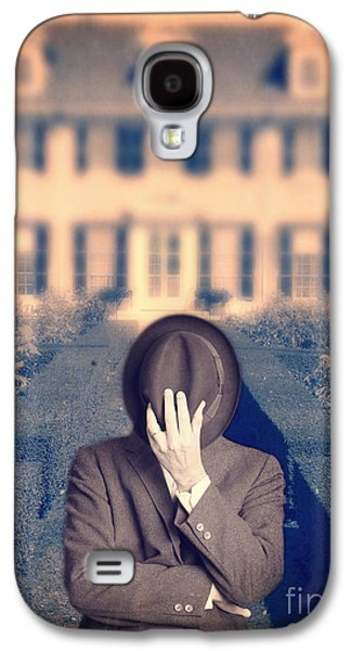 Hiding Galaxy S4 Cases - Man in front of mansion  Galaxy S4 Case by Edward Fielding