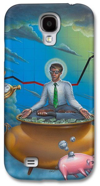 Saving Paintings Galaxy S4 Cases - Man Meditating On Pot Of Gold - Time - Art - Illustration - Money - Wallstreet  Galaxy S4 Case by Walt Curlee