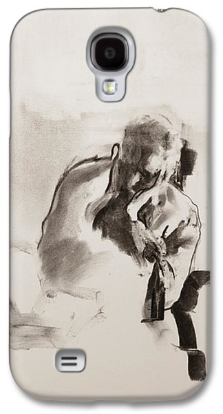 Book Pastels Galaxy S4 Cases - Man reading Galaxy S4 Case by Janet Goddard