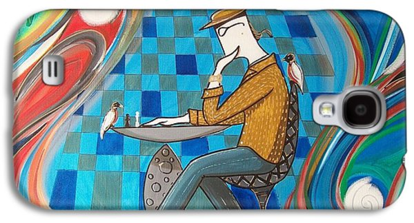 Man Sitting In Chair Contemplating Chess With A Bird Galaxy S4 Case by John Lyes