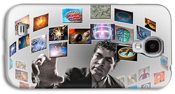 Cyberspace Galaxy S4 Cases - Man Surrounded By Imagery Galaxy S4 Case by Panoramic Images