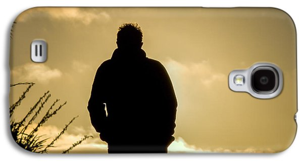 Person Galaxy S4 Cases - Man walking in sunset Galaxy S4 Case by Patricia Hofmeester