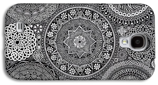 Drawings Galaxy S4 Cases - Mandala Bouquet Galaxy S4 Case by Matthew Ridgway