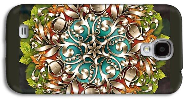 Abstract Digital Mixed Media Galaxy S4 Cases - Mandala Metallic Ornament Galaxy S4 Case by Bedros Awak