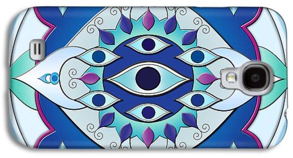 Ceramic Mixed Media Galaxy S4 Cases - Mandala Of The Seven Eyes Galaxy S4 Case by Bedros Awak