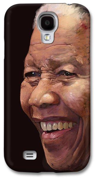 Shirt Digital Art Galaxy S4 Cases - Mandela Madiba Galaxy S4 Case by Arie Van der Wijst