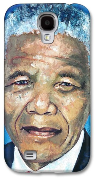 Democracy Paintings Galaxy S4 Cases - Mandela Portrait 1 Galaxy S4 Case by Alan Levine
