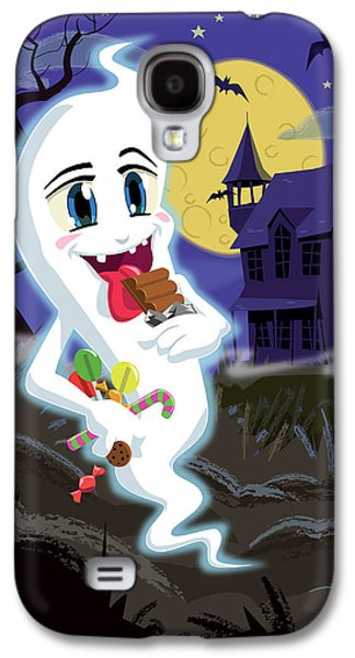 Creepy Digital Art Galaxy S4 Cases - Manga Sweet Ghost at Halloween Galaxy S4 Case by Martin Davey