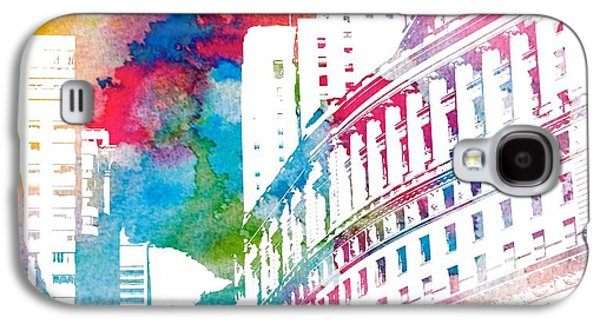 Architecture Mixed Media Galaxy S4 Cases - Manhattan Architecture Watercolor Galaxy S4 Case by Dan Sproul